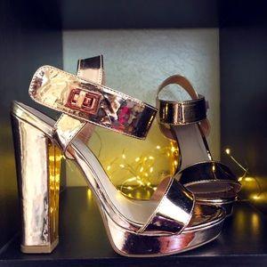 Rose Gold Open Toe High-heels